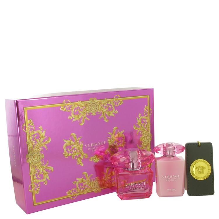 Bright Crystal Absolu by Versace for Women Gift Set -- 3 oz Eau De Parfum Spray + 3.4 oz Body Lotion + Gold Versace Keychain