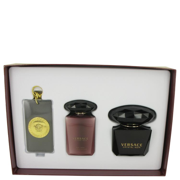 Crystal Noir by Versace for Women Gift Set -- 3 oz Eau De Toilette Spray + 3.4 oz Body Lotion + Versace Luggage Tag