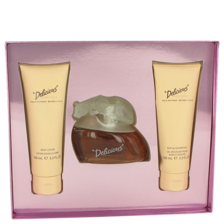 DELICIOUS by Gale Hayman for Women Gift Set -- 3.3 oz Eau De Toilette Spray + 3.3 oz Body Lotion + 3.3 oz Body Wash