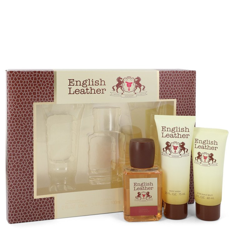 ENGLISH LEATHER by Dana for Men Gift Set -- 3.4 oz Cologne Body Spash + 2 oz After Shave Balm + 2.5 oz Body Wash