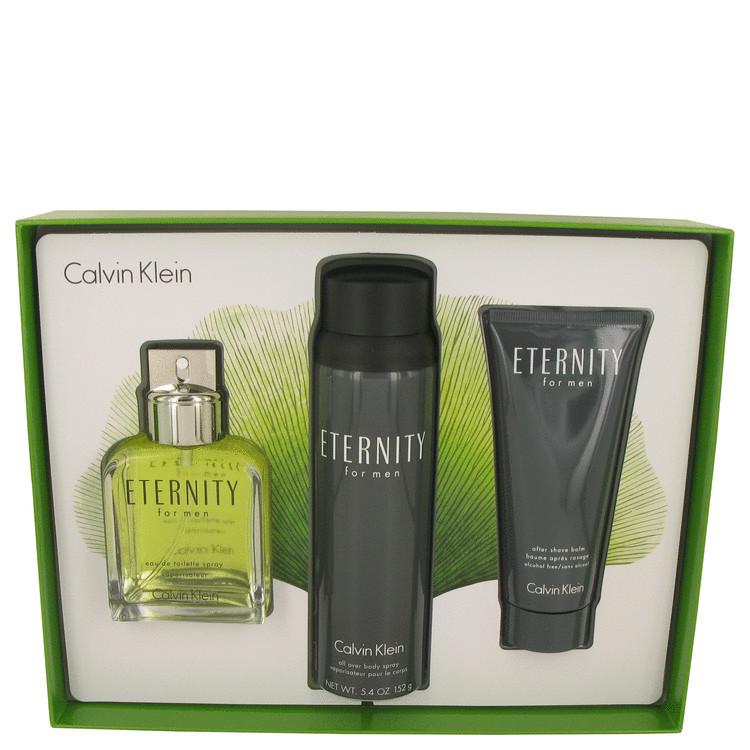 ETERNITY by Calvin Klein for Men Gift Set -- 3.4 oz Eau De Toilette Spray + 3.4 oz After Shave Balm + 5.4 oz Body Spray