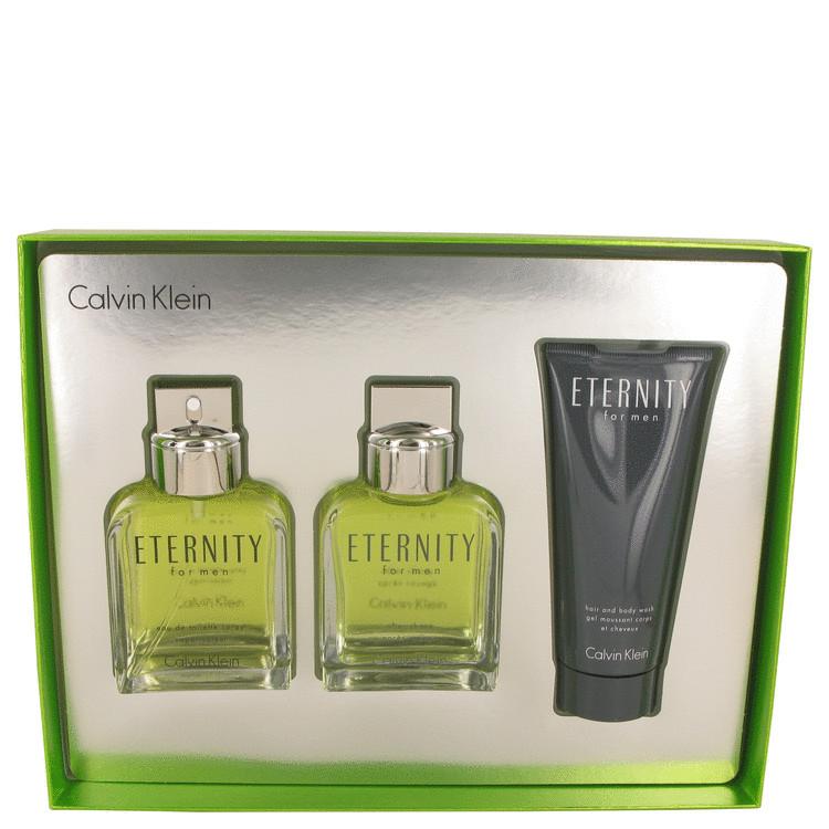 ETERNITY by Calvin Klein for Men Gift Set -- 3.4 oz Eau De Toilette Spray + 3.4 After Shave + 3.4 oz Shower Gel