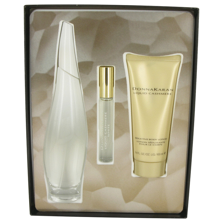 Liquid Cashmere White by Donna Karan for Women Gift Set -- 3.4 oz Eau De Parfum Spray + .34 oz Mini EDP Roller Ball + 3.4 oz Bod