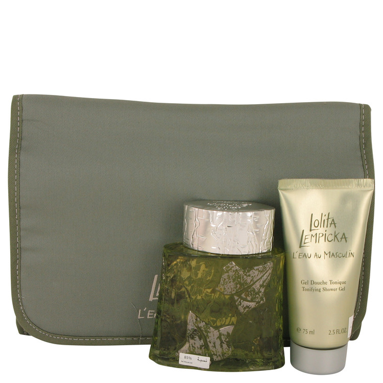 Lolita Lempicka L'eau Au Masculin by Lolita Lempicka for Men Gift Set -- 3.4 oz Eau De Toilette Spray + 2.5 oz Shower Gel in Tra