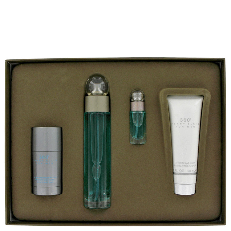 perry ellis 360 by Perry Ellis for Men Gift Set -- 3.4 oz Eau De Toilette Spray + 3 oz After Shave Balm + 3 oz Shower Gel + .25