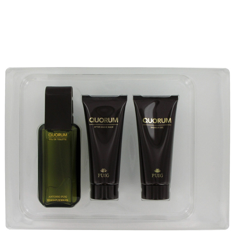 QUORUM by Antonio Puig for Men Gift Set -- 3.4 oz Eau De Toilette Spray + 3.4 oz After Shave Balm + 3.4 oz Shower Gel