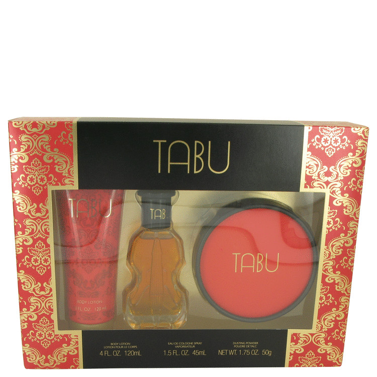 TABU by Dana for Women Gift Set -- 1.5 oz Cologne Spray + 4 oz Body Lotion + 1.75 oz Dusting Powder