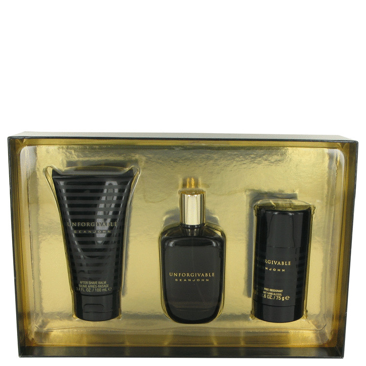 Unforgivable by Sean John for Men Gift Set -- 4.2 oz Eau De Toilette Spray + 3.4 oz After Shave Balm + 2.6 oz Alcohol Free Deodo