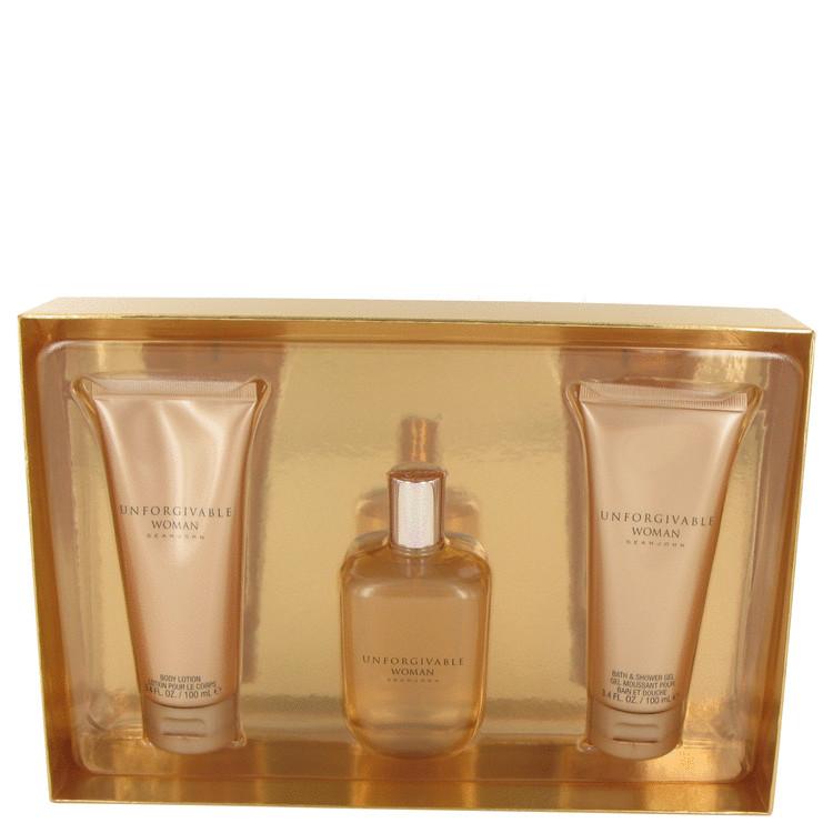 Unforgivable by Sean John for Women Gift Set -- 4.2 oz Eau De Parfum Spray + 3.4 oz Body Lotion + 3.4 oz Shower Gel