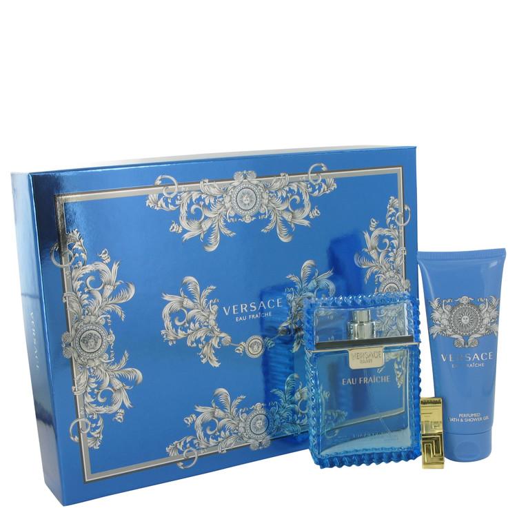 Versace Man by Versace for Men Gift Set -- 3.4 oz Eau De Toilette Spray (Eau Fraiche) + 3.4 oz Shower Gel + Gold Versace Money C