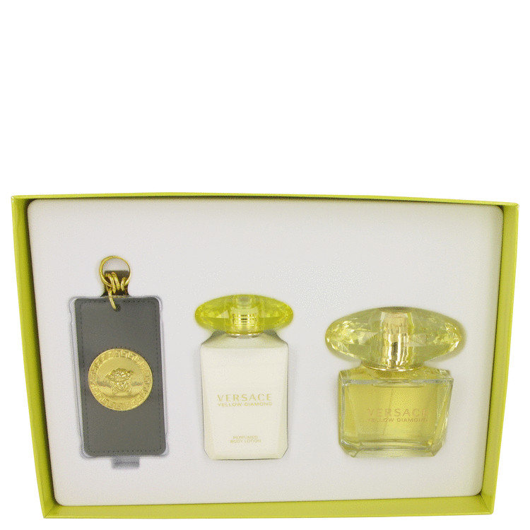 Versace Yellow Diamond by Versace for Women Gift Set -- 3 oz Eau De Toilette Spray + 3.4 oz Body Lotion + Gold Versace Luggage T