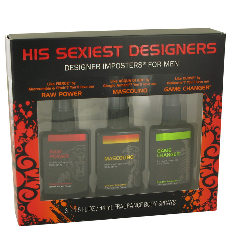 Designer Imposters Game Changer by Parfums De Coeur for Men Gift Set -- Sexiest Designers Set Includes Raw Power, Mascolino and