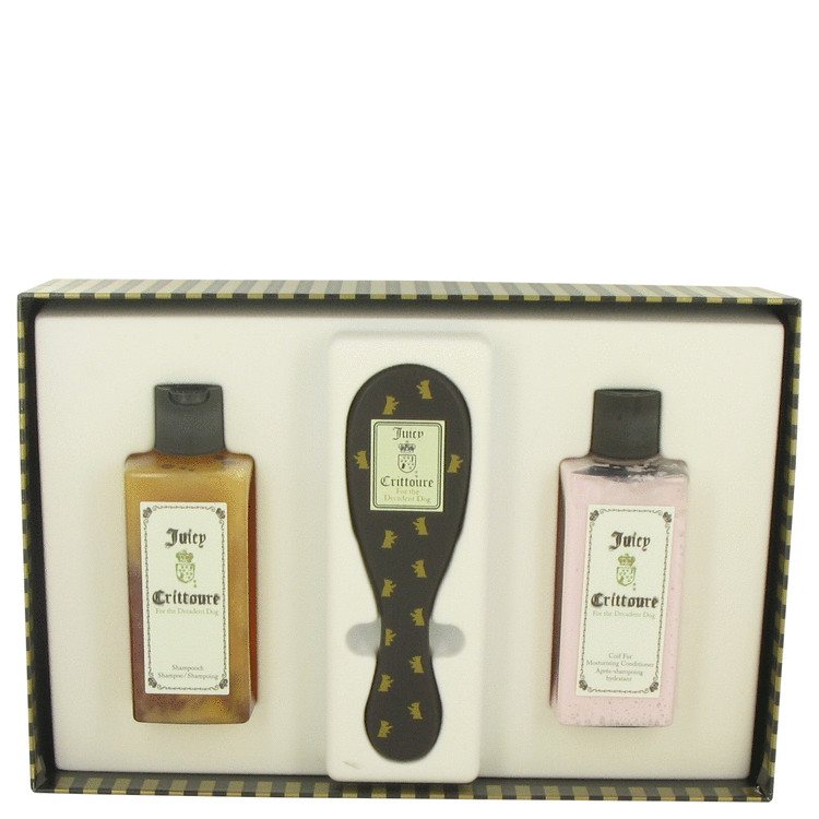 Juicy Crittoure by Juicy Couture for Women Gift Set -- 8 oz Shampoo + 8 oz Conditioner + Dog Brush