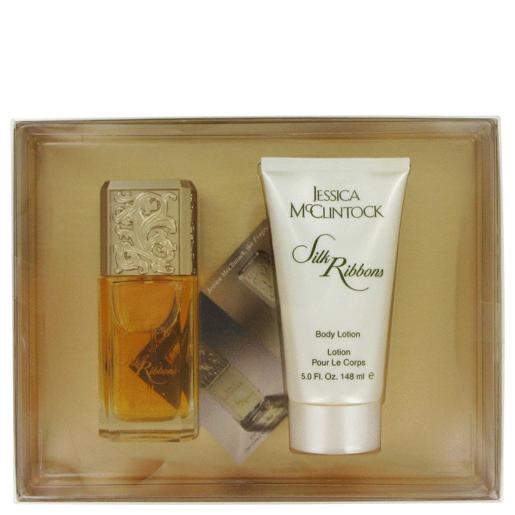 JESSICA Mc CLINTOCK Silk Ribbon by Jessica McClintock for Women Gift Set -- 3.4 oz Eau De Parfum Spray + 5 oz Body Lotion