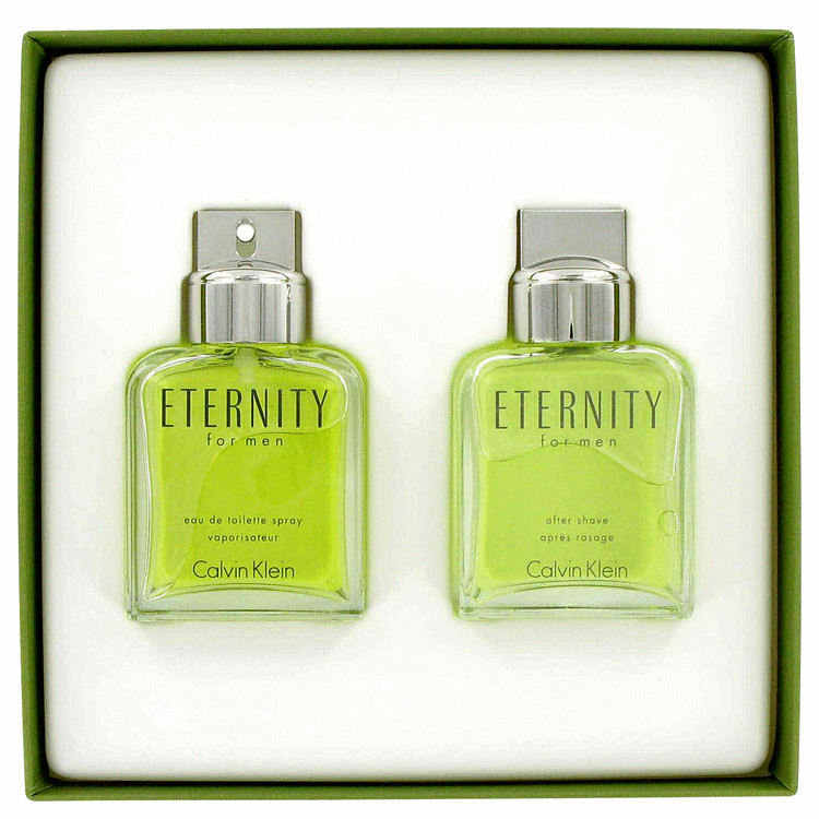 ETERNITY by Calvin Klein for Men Gift Set -- 3.4 oz Eau De Toilette Spray + 3.4 oz After Shave