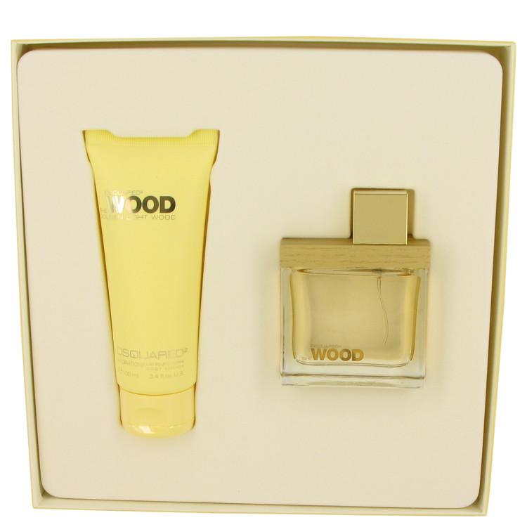 She Wood Golden Light Wood by Dsquared2 for Women Gift Set -- 1.7 oz Eau De Parfum Spray + 3.4 oz Body Lotion