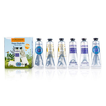 L'Occitane Skincare 6 x 1 oz Happy Hands Kit: 2x  Shea Butter 30ml + 2x Lavender 30ml + 2x Cooling Hand Gel 30ml