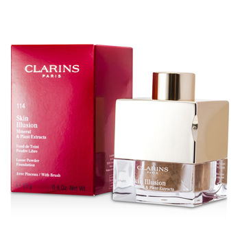 Clarins Make Up 0.4 oz Skin Illusion Mineral & Plant Extracts Loose Powder Foundation (With Brush) - # 114 Cappuccino