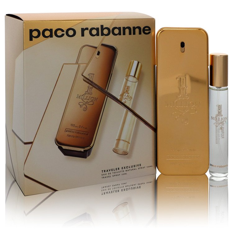 1 Million by Paco Rabanne by Paco Rabanne – Gift Set — 3.4 oz Eau de Toilette Spray + .68 oz Travel Spray — for Men