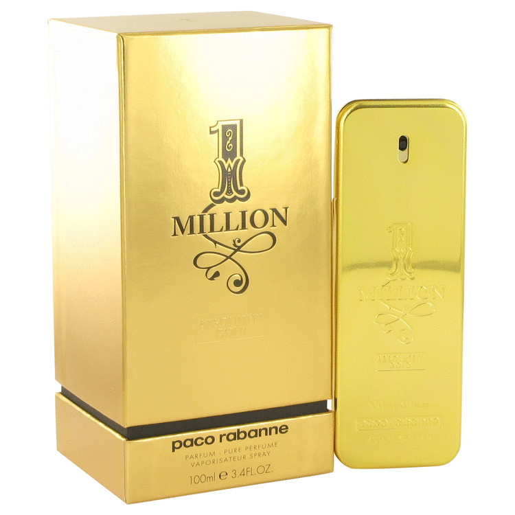1 Million Absolutely Gold by Paco Rabanne for Men Pure Perfume Spray 3.3 oz