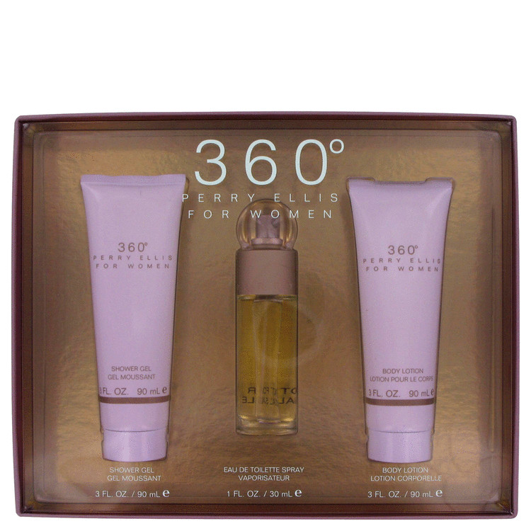 Perry Ellis 360 Gift Set -- Gift Set - 1 oz Eau De Toilette Spray + 3 oz Body Lotion 3 oz Shower Gel for Women