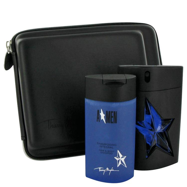 Angel Gift Set -- Gift Set - 3.4 oz Eau De Toilette Spray (Rubber Flask) + 3.5 oz Hair & Body Shampoo +Bag for Men