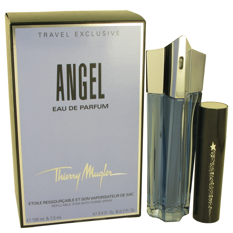 Angel Perfume 100 ml Eau De Parfum Spray Refillable + Free .2 oz Eau De Parfum Travel Spray with Magnetic Closing Travel Case for Women