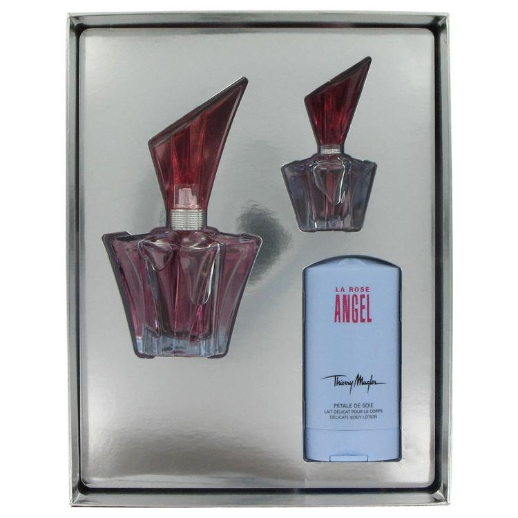 Angel Rose for Women, Gift Set (.85 oz EDP Spray Refillable + 1 oz Body Lotion + .17 oz Mini EDP)