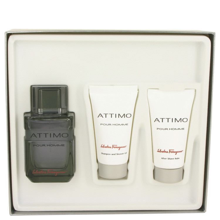 Attimo Gift Set -- Gift Set - 3.4 oz Eau De Toilette Spray + 1.7 oz Shower Gel +1.7 oz After Shave Balm for Men