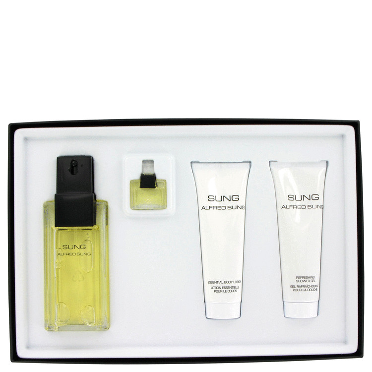 Alfred Sung Gift Set -- Gift Set - 3.4 oz Eau De Toilette Spray + .14 oz Parfum + 2.5 oz Body Lotion + 2.5 oz Bath/Shower Gel for Women