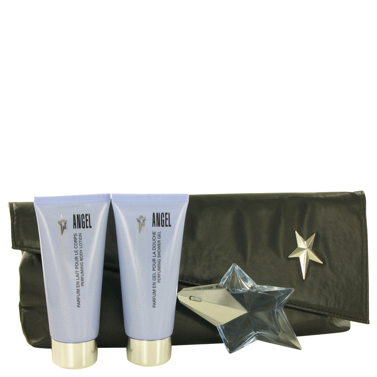 Angel Gift Set -- Gift Set - .8 oz  Mini EDP Refillable + 3.5 oz Body Lotion + 3.4 oz Shower Gel in Signature Clutch Purse for Women