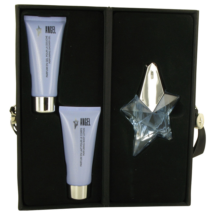 Angel Gift Set -- Gift Set - 1.7 oz Eau De Parfum Spray + 3.4 oz Body Lotion + 3.4 oz Shower Gel in Leather Bag for Women