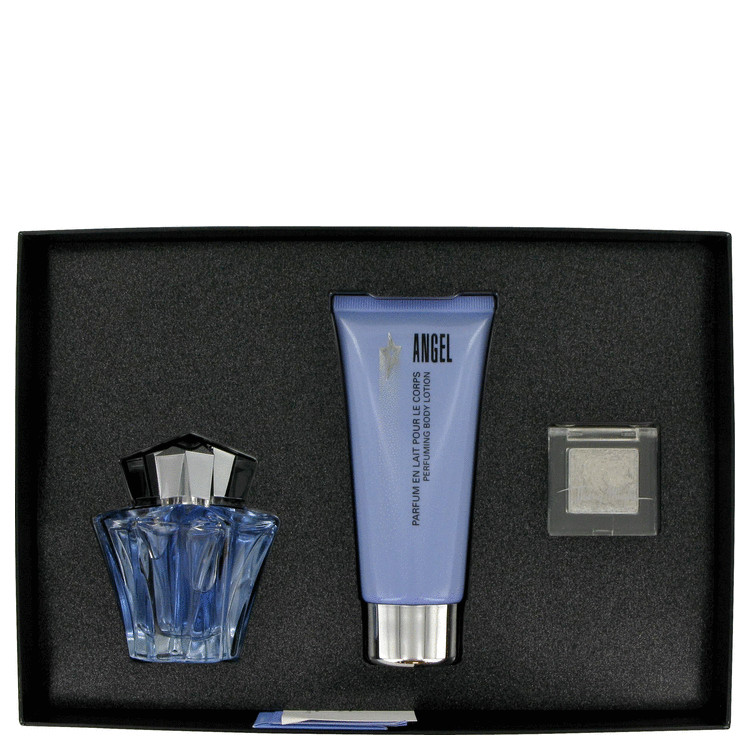 Angel Gift Set -- Gift Set - .85 oz Eau De Parfum Spray (The Refillbable Stars) + 3.4 oz Body Lotion + .07 oz Diamonmd Wax for Women