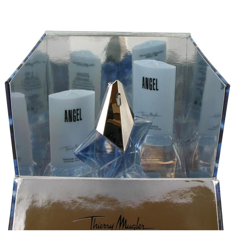 Angel Gift Set -- Gift Set - .8 oz Eau De Parfum Spray +1 oz Celestial Shower Gel + 1 oz Celestial Body Lotion in Blue Cube Box for Women