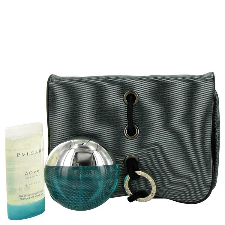 Bvlgari Aqua Marine Gift Set -- Gift Set - 1.7 oz Eau De Toilette Spray + 2.5 oz Shampoo + Toiletry Pouch for Men