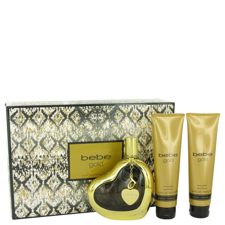 Bebe Gold Gift Set -- Gift Set - 3.4 oz Eau De Parfum Spray + 3.4 oz Body Lotion + 3.4 oz Shower Gel for Women