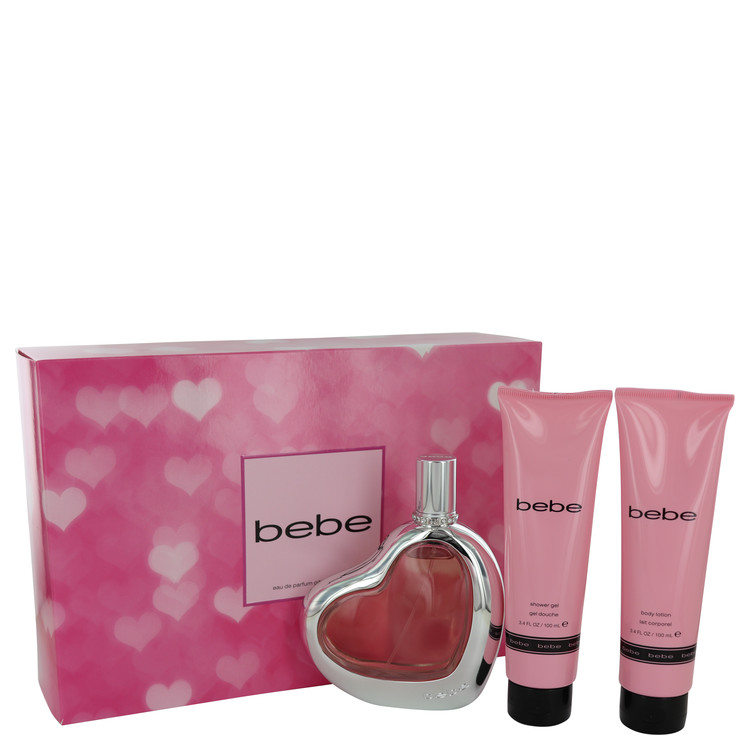 Bebe by Bebe Women's Gift Set -- 3.4 oz Eau De Parfum Spray + 3.4 oz Body Lotion + 3.4 oz Shower Gel