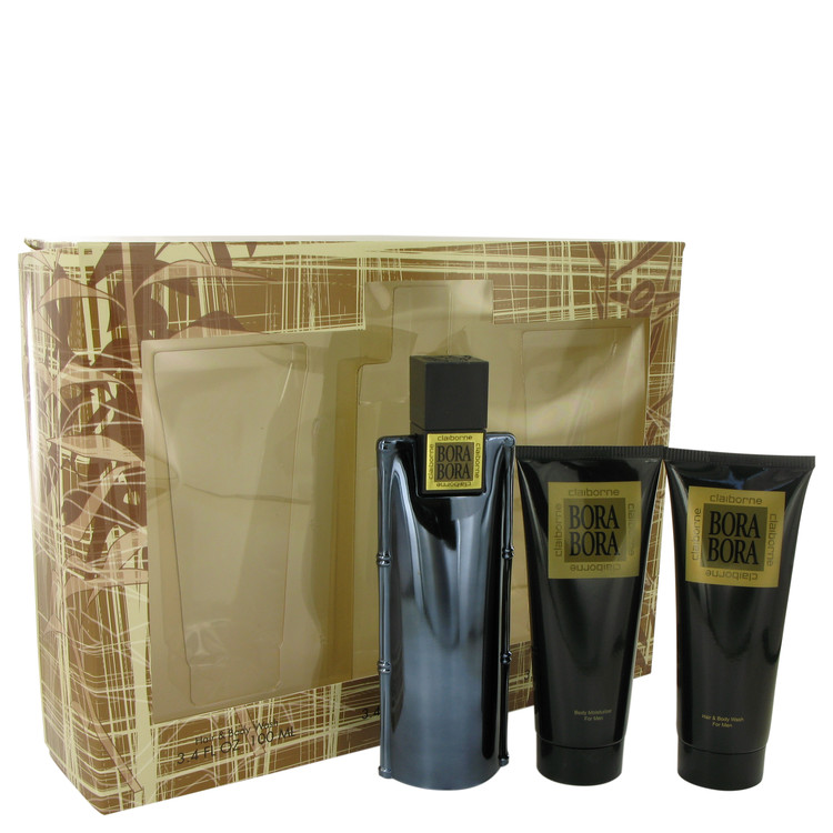 Bora Bora by Liz Claiborne Men's Gift Set -- 3.4 oz Cologne Spray + 3.4 oz Body Moisturizer + 3.4 oz  Hair & Body Wash