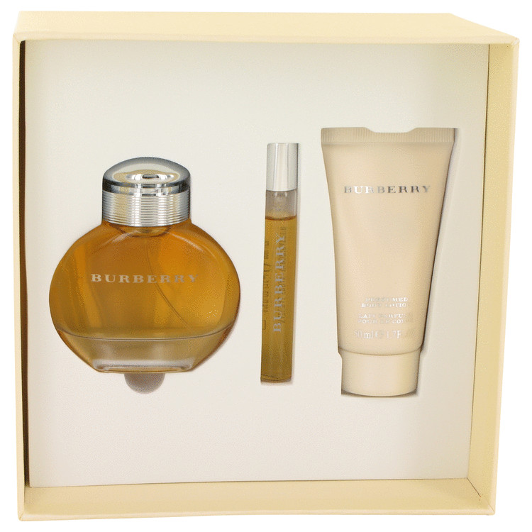 Burberry for Women, Gift Set (1.7 oz EDP Spray + 1.7 oz Body Lotion + .25 oz Mini EDP Spray)