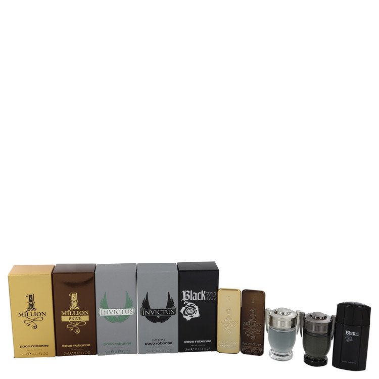 Black Xs Gift Set -- Gift Set - Travel Mini Set Includes 1 Million, 1 Million Prive, Invictus, Invictus Intense and Black XS for Men