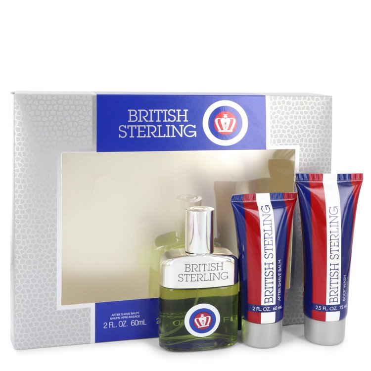 British Sterling for Men, Gift Set (2.5 oz Cologne Spray + 2.5 oz Body Wash + 2 oz After Shave Balm)