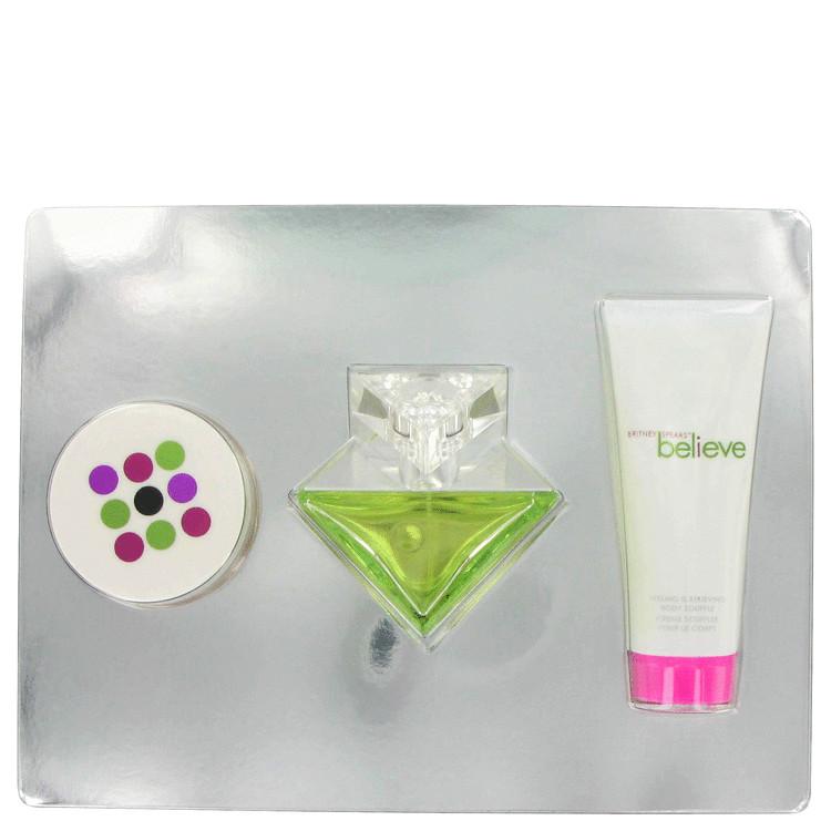 Believe Gift Set -- Gift Set - 3.4 oz Eau De Parfum Spray + 3.3 oz Body Souffle + 0.5 oz Powder for Women