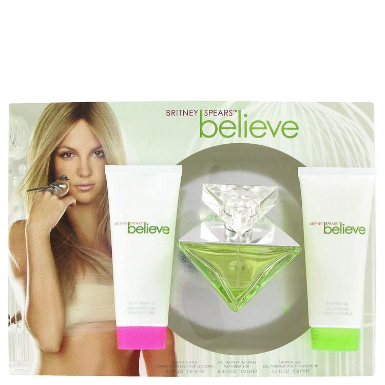 Believe Gift Set -- Gift Set - 3.4 oz Eau De Parfum Spray + 3.3 oz Body Souffle + 3.4 oz Shower Gel for Women