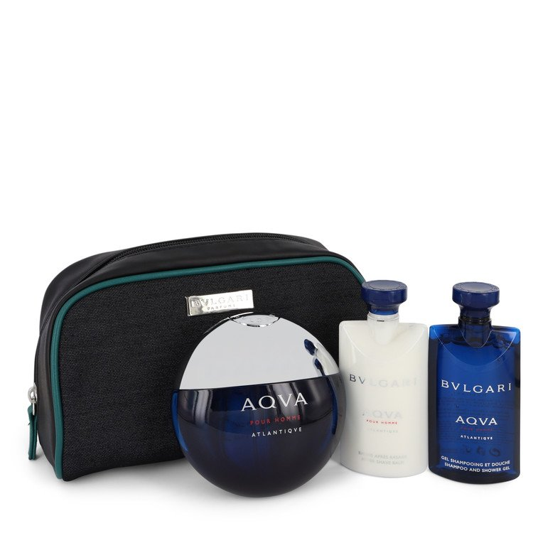 Bvlgari Aqua Atlantique Gift Set -- Gift Set - 3.4 oz Eau De Toilette Spray + 2.2 oz Shower Gel + 2.2 oz After Shave Balm in Pouch for Men