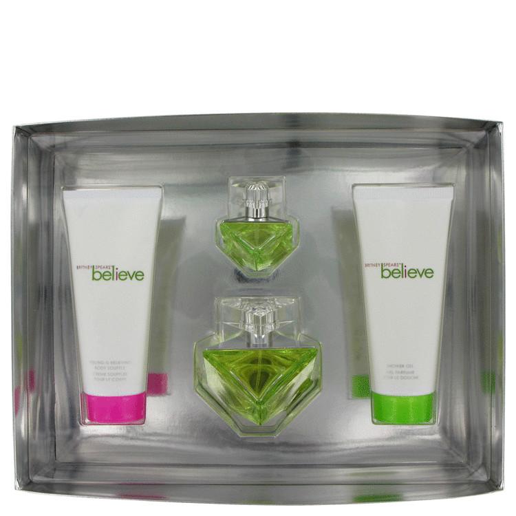 Believe Gift Set -- Gift Set - 1.7 oz Eau De Parfum Spray + 3.3 oz Body Souffle + 3.3 oz Shower Gel +.33 oz Mini Edp Spray for Women