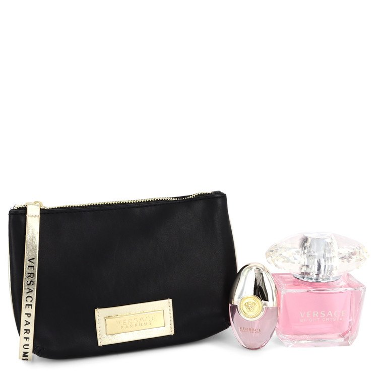 Bright Crystal by Versace Women's Gift Set -- 3 oz Eau De Toilette Spray + 0.3 oz Mini EDT Spray + Black and Gold Pouch