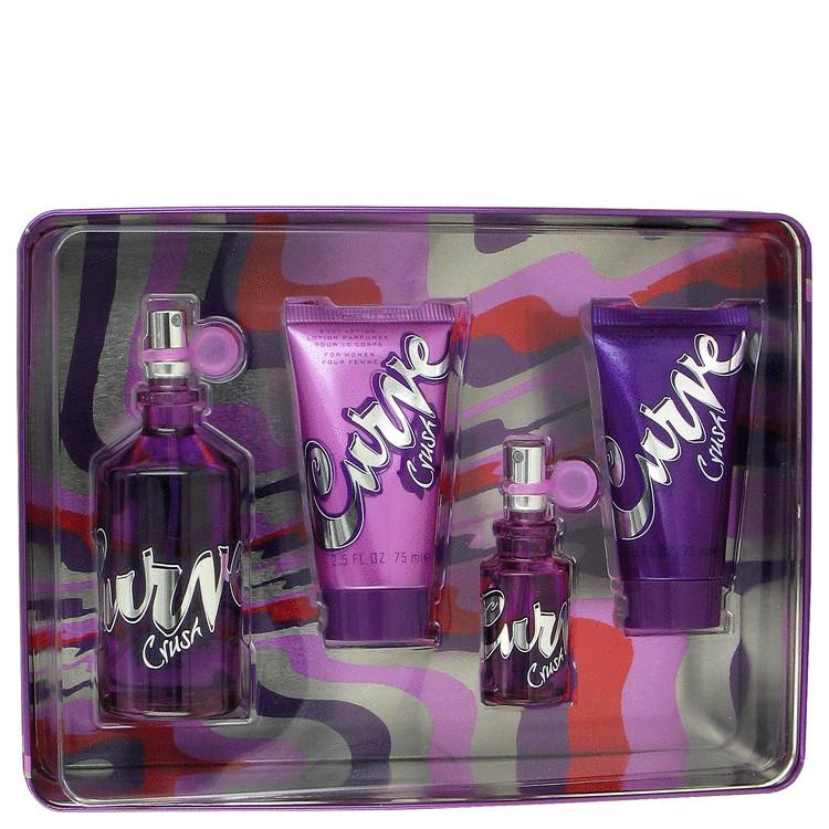 Curve Crush for Women, Gift Set (3.4 oz EDT Spray + .5 oz Mini EDT Spray + 2.5 oz Body Lotion + 2.5 oz Shower Gel)