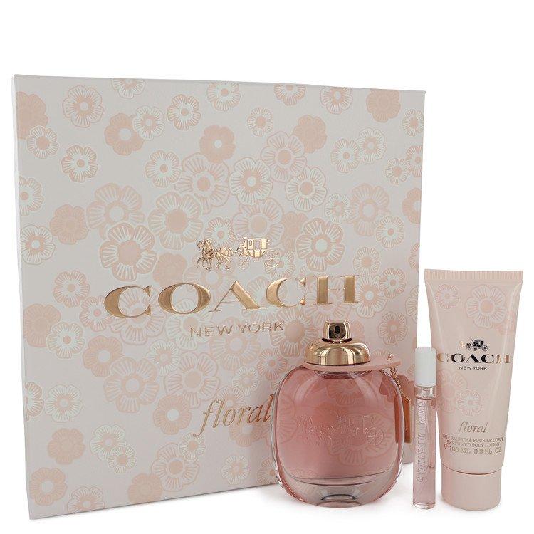 Coach Floral Gift Set -- Gift Set - 3 oz Eau De Parfum Spray + .25 oz Mini EDP Spray + 3.3 oz Body Lotion for Women