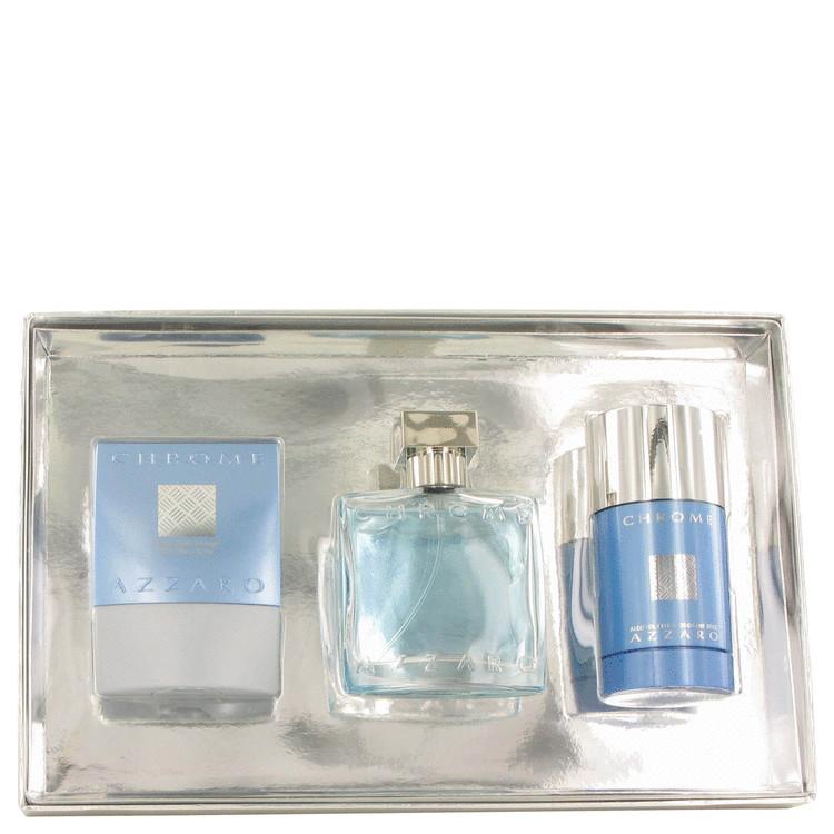 Chrome Gift Set -- Gift Set - 1.7 oz Eau De Toilette Spray + 2.5 oz After Shave Balm + 2.7 oz Deodorant Stick for Men