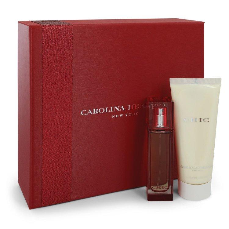 Chic by Carolina Herrera for Women Gift Set -- 1 oz Eau De Parfum Spray + 3.4 oz Body Lotion